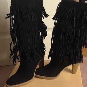 Micheal Kors Black Fringe suede boots